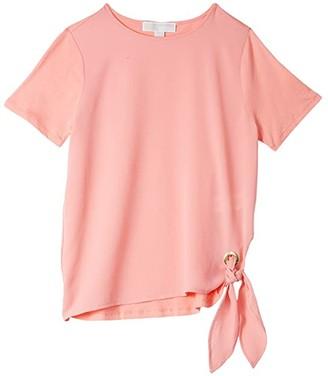MICHAEL Michael Kors Woven Mix Tie Short Sleeve Tee (Desert Flower) Women's Clothing