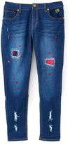 Dollhouse Dark Indigo & Pink-Accent Super Stretch Jeans - Girls