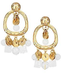 Vila Akola Women's Phoebe White Gemstone & Goldtone Front-Facing Hoop Earrings