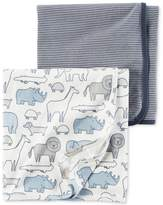 Carter's 2-Pk. Stripes and Animals Cotton Swaddle Blankets, Baby Boys