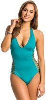 Kenneth Cole Sexy Solids Halter Cut Out One Piece Swimsuit 8139259