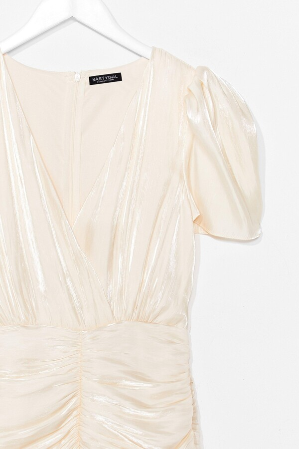Thumbnail for your product : Nasty Gal Womens Satin Pleated Ruched Mini Dress - Beige - L