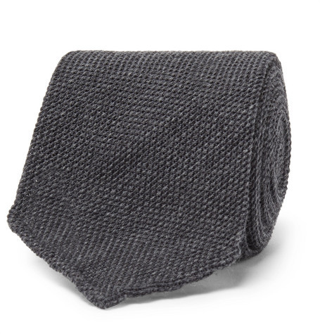 Thom Sweeney - 8cm Woven Wool And Silk-blend Tie - Gray