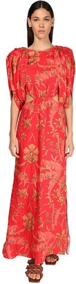 Johanna Ortiz Printed Linen Long Dress W/ Cut Outs
