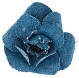 Chanel Denim Camellia Brooch