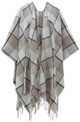 Acne Studios Cassiar Checked Wool Poncho - Womens - Grey