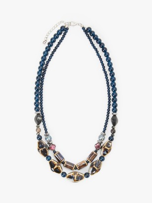 One Button Beaded Double Row Necklace, Navy