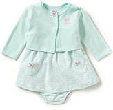Little Me Baby Girls 3-12 Months Floral Dress, Owl-Embroidered Cardigan & Bloomer Set