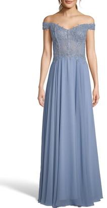 Xscape Evenings Off-the-Shoulder Embellished Dress