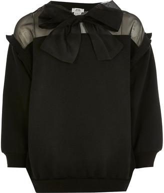 River Island Girls black organza bow sweatshirt