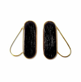 Nathnit Pteron Earrings Vermeil Gold Black
