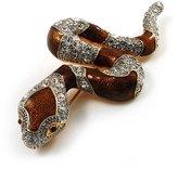 Avalaya Mesmerizing Brown Enamel Swarovski Crystal Snake Brooch