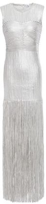 Herve Leger Fringed Appliqued Metallic Tulle Gown
