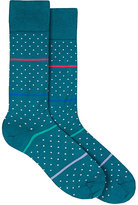 Paul Smith Men's Striped & Dotted Mid-Calf Socks-TURQUOISE