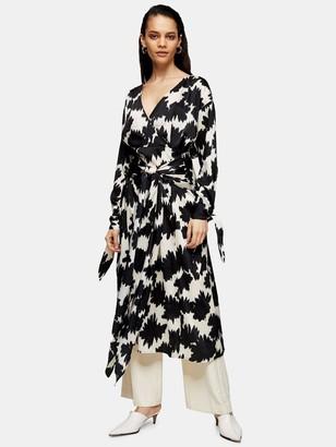Topshop Boutique Warp Floral Tie Midi Dress - Mono