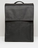 Asos Leather Backpack With Foldover Top