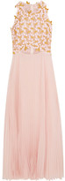 Giambattista Valli Guipure Lace And Pleated Silk-chiffon Midi Dress - Pink
