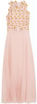 Giambattista Valli Guipure Lace And Pleated Silk-chiffon Midi Dress - Pink