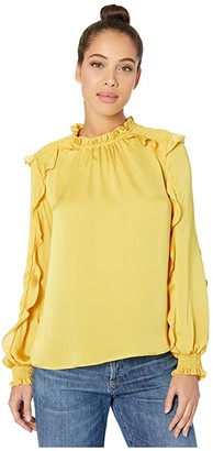 BCBGMAXAZRIA Long Sleeve Blouse (Ceylon Yellow) Women's Blouse