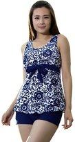 Ilishop Women's Swimsuit Plus Size Retro Two Piece Tankini Swimwear