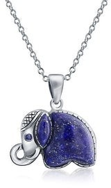 Bling Jewelry Indian Elephant Blue Lapis Lazuli Pendant Sterling Silver Necklace