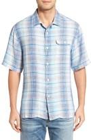 Tommy Bahama Men's Paradigm Plaid Regular Fit Linen Camp Shirt