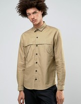 Asos Military Shirt In Stone With Storm Flaps And Long Sleeves In Regular Fit