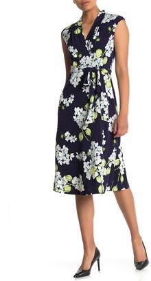 London Times Cap Sleeve Floral Jersey Wrap Dress (Petite)