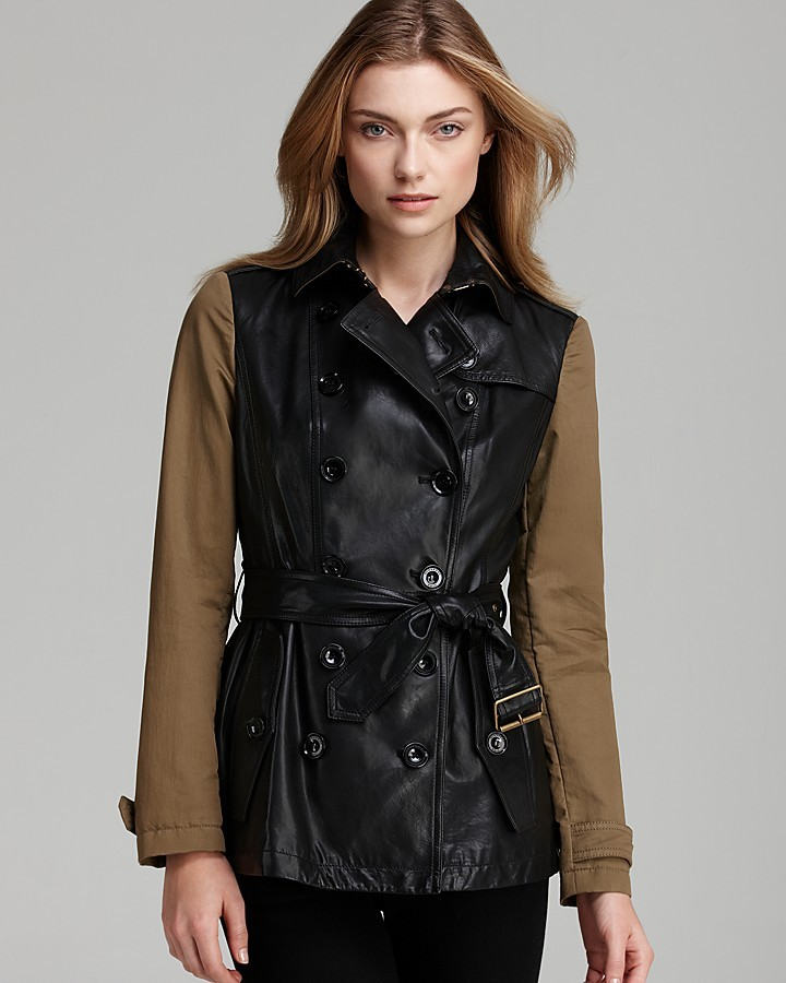 Burberry Crofton Leather Coat with Canvas Sleeves