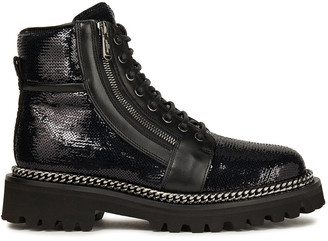Balmain Chain-trimmed Sequined Leather Ankle Boots