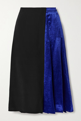 Marni Paneled Pleated Cupro-satin And Crepe Midi Skirt - Black