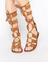 Park Lane Gladiator Suede Knee High Flat Sandals