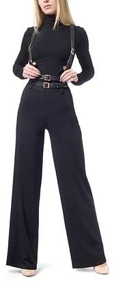 LADA LUCCI Women's Casual Pants Black - Black Belted Wide-Leg Pants - Women & Plus