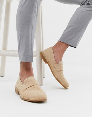 Selected penny loafer in beige