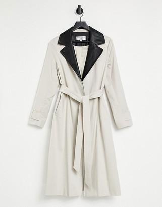 Helene Berman Contrast Pleather Ruth Coat in Beige