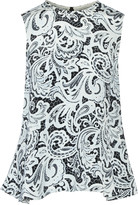 Mary Katrantzou Silvastone printed silk crepe de chine peplum top