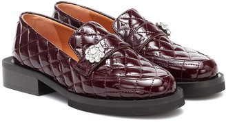 Ganni Quilted patent leather loafers