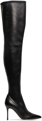 Sergio Rossi 90mm Stretch Leather Over-the-knee Boots