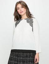 ELOQUII Plus Size Scalloped Lace Shoulder Blouse