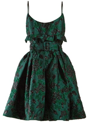 Prada Belted Satin Brocade Mini Dress - Womens - Green Multi