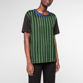 Paul Smith Women's Black And Green Stripe-Front T-Shirt