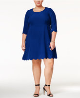 NY Collection Plus Size Scalloped Fit & Flare Dress