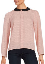 CeCe Collared Crepe Long Sleeve Blouse
