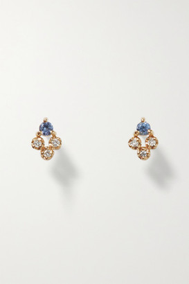 WWAKE Posy Recycled Gold, Sapphire And Diamond Earrings - one size