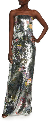 Monique Lhuillier Strapless Botanical-Print Sequined Gown