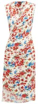 Atlein - Gathered Floral-print Stretch-jersey Dress - Womens - White Print