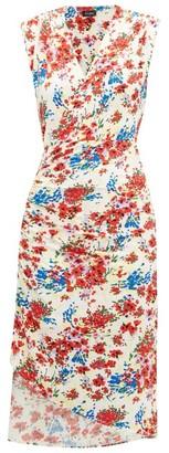 Atlein - Gathered Floral-print Stretch-jersey Dress - White Print