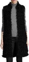 Pologeorgis Women's Fur Curve Hem Vest