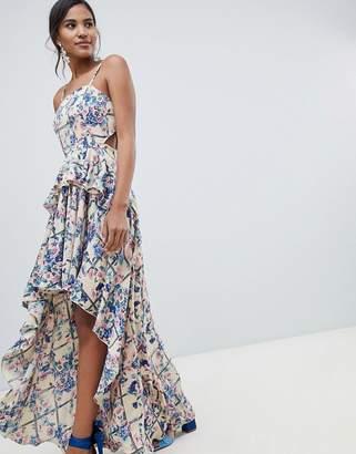 Asos DESIGN high low maxi dress in grid floral
