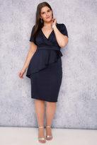 Yours Clothing SCARLETT & JO Navy Midi Wrap Dress With Peplum Frill